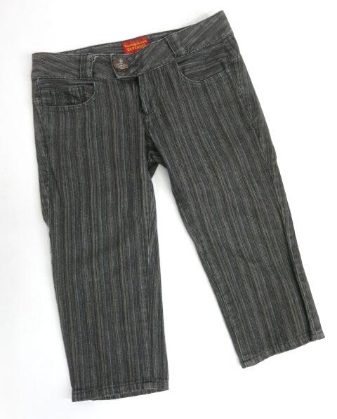 Vivienne Westwood RED LABEL ストライプ柄デニム七分丈パンツ