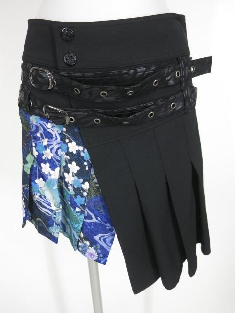 Qutie Frash ベルト付き和柄切替プリーツ巻きスカート