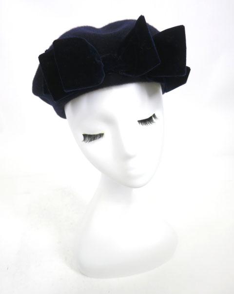 Jane Marple ベロアリボン付きベレー帽