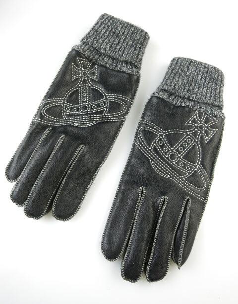 Vivienne Westwood MAN オーブ刺繍レザー×ニット切替手袋