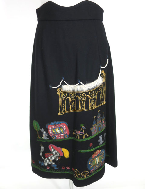 Jane Marple 長靴をはいた猫アップリケ刺繍スカート