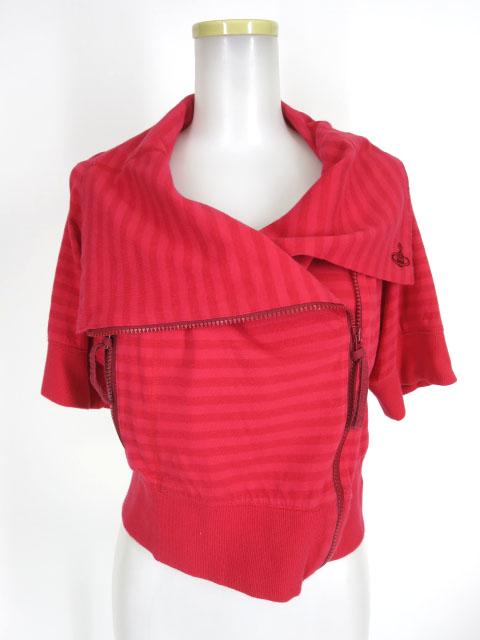 Vivienne Westwood RED LABEL ボーダー柄半袖ライダースカーディガン