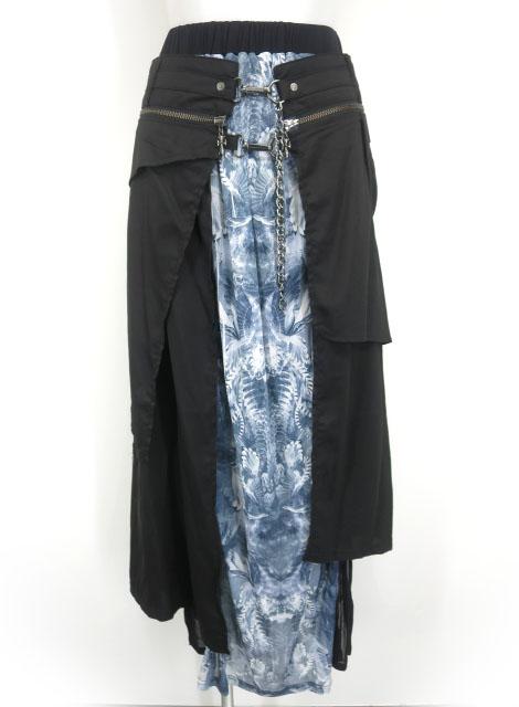 Ozz Croce オーバースカート付き羽根柄メッシュチュールロングスカート