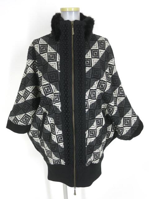 Rozen Kavalier ジャガード織りドルマンジップアップブルゾン