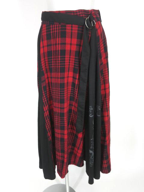 SEX POT チェック柄切替ロングスカート