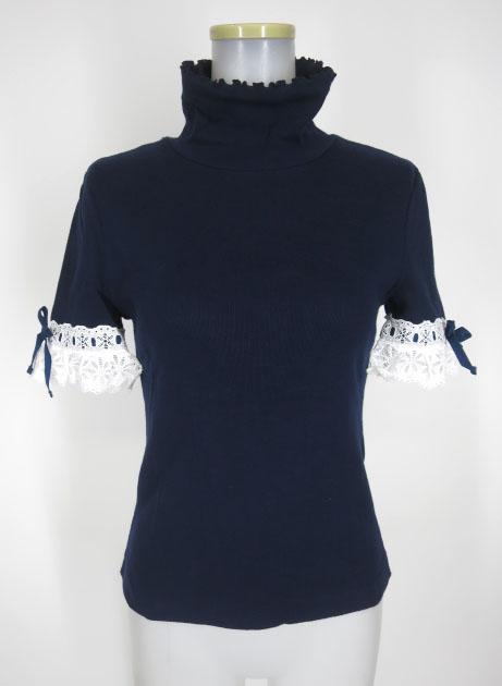 Jane Marple 袖レース付きタートルネック半袖ニットセーター