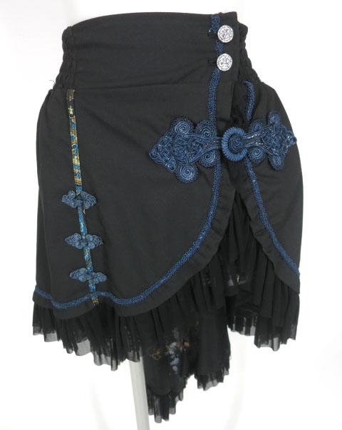 OZZ ONESTE チャイナボタン付き後ろロングオーバースカート