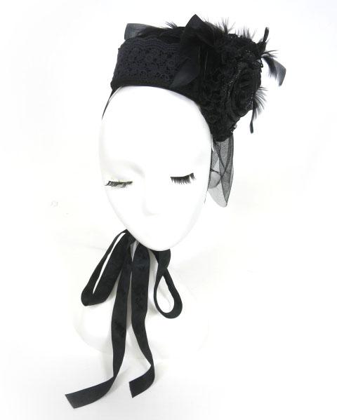 corgi-corgi ローズ&フェザー付きトーク帽