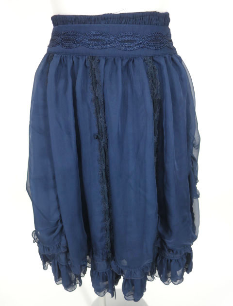 OZZ ONESTE シフォンオーバースカート付きリバーシブルスカート