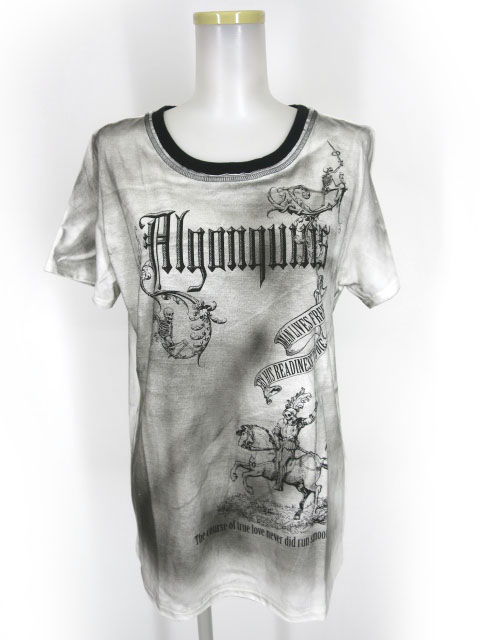 ALGONQUINS スプレー加工 ダークナイトプリントTシャツ
