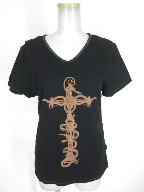 S.D.S NAOTO SEVEN クロスプリント ダメージ加工半袖Tシャツ