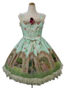 BABY,THE STARS SHINE BRIGHT 秘密の花園 ~The rose has secret scent~柄 ロゼットローズジャンパースカート