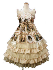 BABY,THE STARS SHINE BRIGHT バロックを探して~天使が祝福する至福の美術館巡り~柄 ロングフリルジャンパースカート